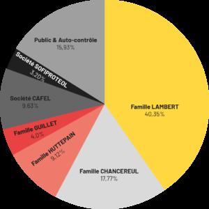 Pourcentage d'actionnariat par familles